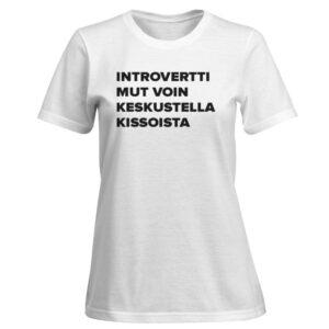 Kannatus t-paita: Introvertti mut voin keskustella kissoista